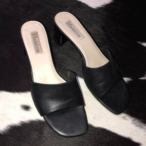 Vintage slip on stacked heel leather mules, size 8